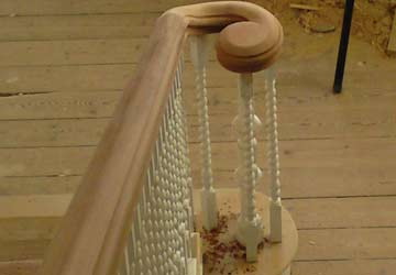 Staircase handrail scroll